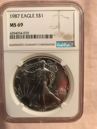 1987 Silver American Eagle (ngc Ms - 69) photo