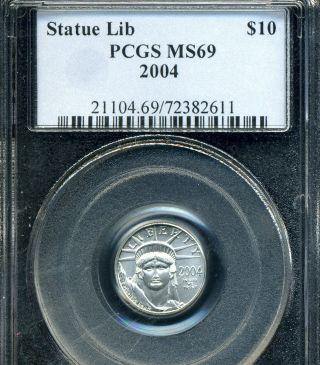 2004 Platinum Eagle Pcgs Ms69 1/10 Oz.  Tenth Ounce photo