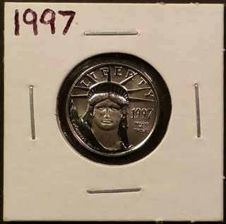 1997 1/10 Oz $10 American Platinum Eagle - Gem Bu photo