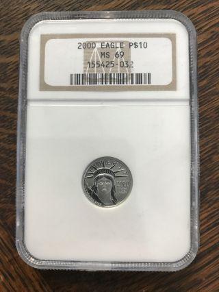 2000 American Platinum Eagle $10 1/10 Oz.  999 Ngc Ms69 0.  10 Oz photo
