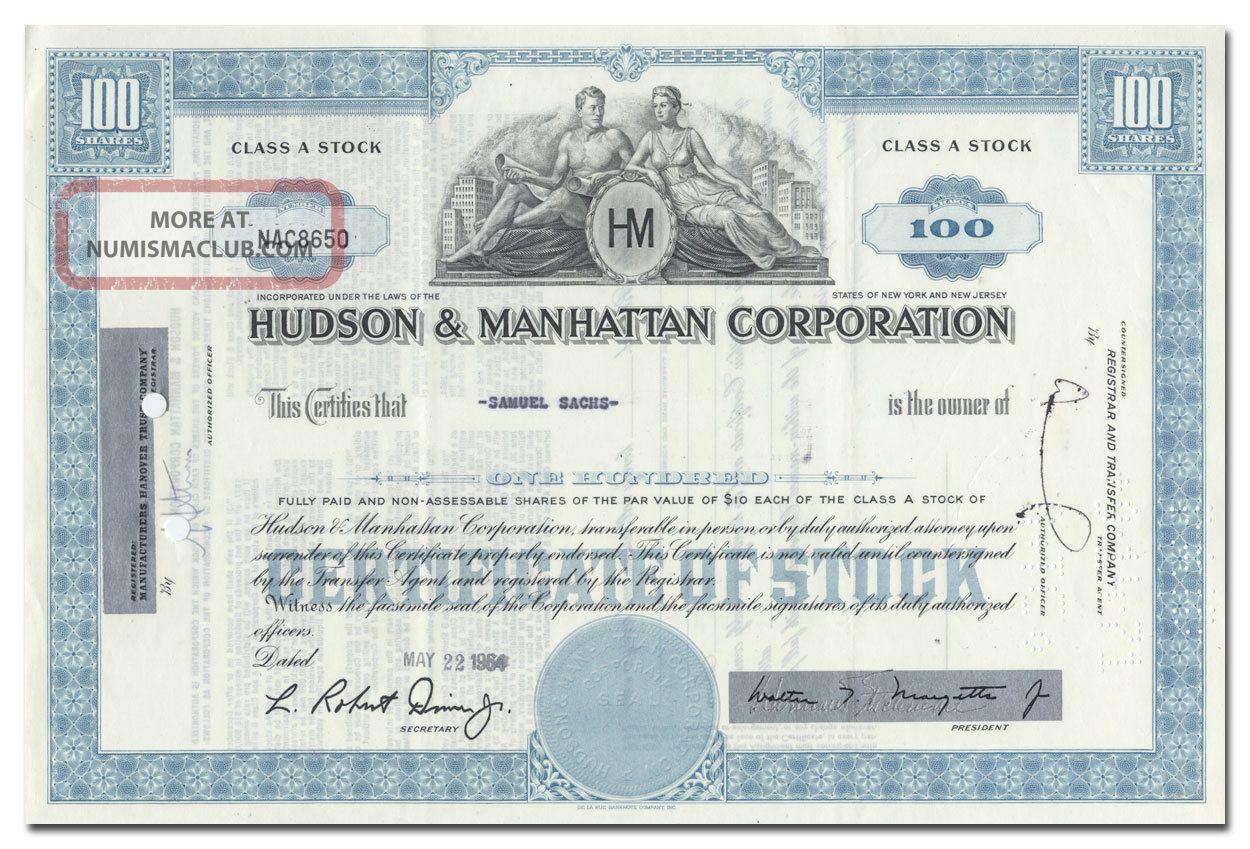 Hudson & Manhattan Corporation Stock Certificate (railroad) Transportation photo