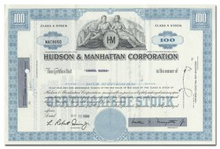 Hudson & Manhattan Corporation Stock Certificate (railroad) photo