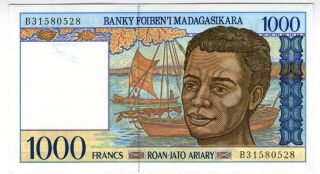 Madagascar 1000 Francs 1994 P - 76b Aunc photo