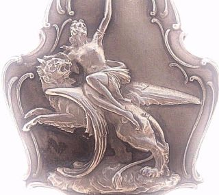 Winged Lion & The Lady - Splendid 1927 Antique Art Medal Pendant Signed Gerard photo