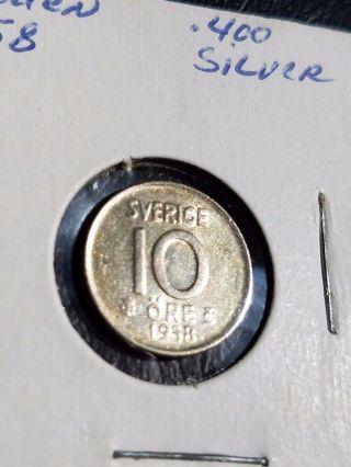 1958 Sweden 10 Öre Silver Coin Km 823 photo