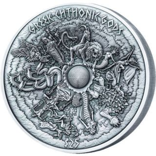 Samoa 2017 25$ Greek Chtonic Gods 1kilo Antique Finish Silver Coin photo