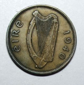 Ireland : Irish Penny 1940.  Key Date photo