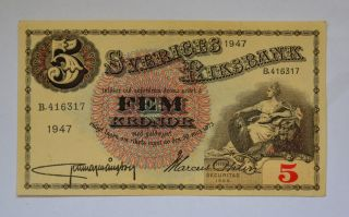 Sweden 5 Kronor 1947 In Au Unc Crisp Banknote Look At Signature photo