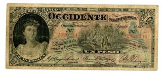 Guatemala.  P - S175a.  1 Peso.  1900.  Vg - F photo