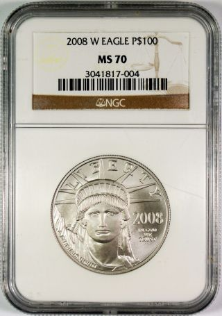 2008 - W $100 American Platinum Eagle Ngc Ms70 Low Mintage - 2876 1 Oz.  Issued photo