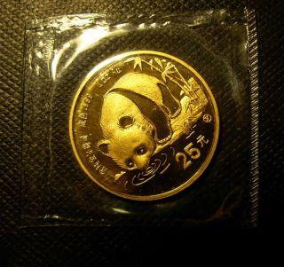 China 1987y Gold 1/4 Oz 25 Yuan Panda Bu photo