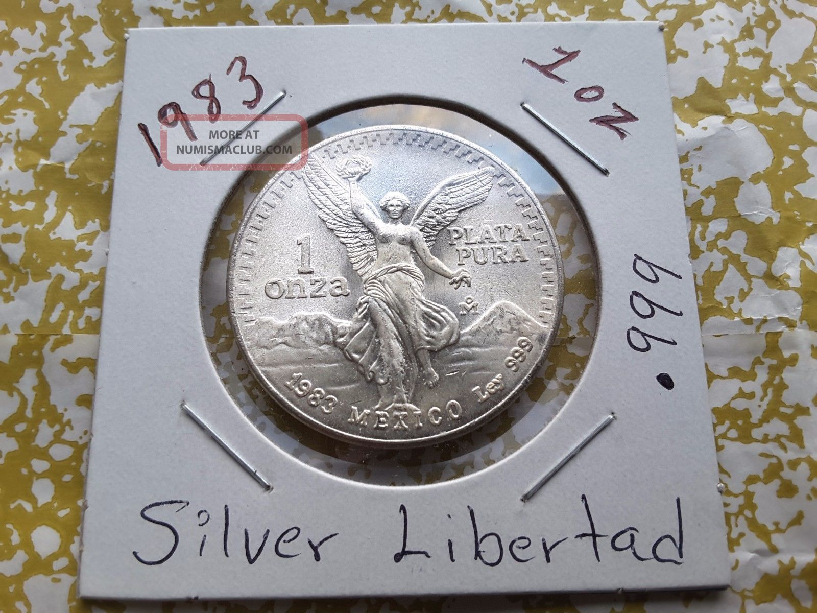1983 1 Oz Silver Mexican Libertad (uncirculated) 1 Onza.  999 Plata Pura Silver photo