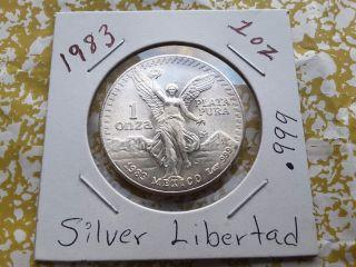 1983 1 Oz Silver Mexican Libertad (uncirculated) 1 Onza.  999 Plata Pura photo