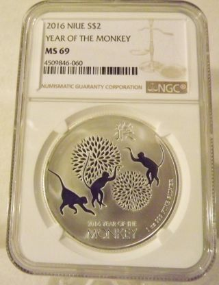 2016 Niue Year Of The Monkey One Oz.  999 Silver Coin : Ngc Ms - 69 photo