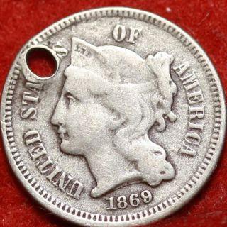 1869 Philadelphia Nickel Three Cent Coin photo