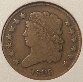 1826 Classic Head Copper Half Cent Old U.  S.  Half Penny Very Strong Details photo