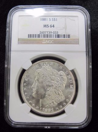 1881 - S Morgan Silver Dollar Ngc Graded Ms64 90 Silver photo
