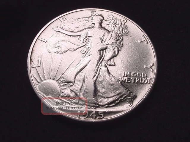 1945 Walking Liberty Half Dollar Coin - - 5011 Liberty Walking (1916-47) photo