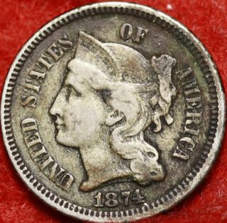 1874 Philadelphia Nickel Three Cent Coin photo