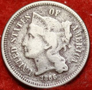 1866 Philadelphia Nickel Three Cent Coin photo
