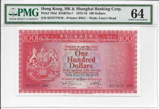 Hong Kong Bank - $100,  1976.  Pmg 64. photo