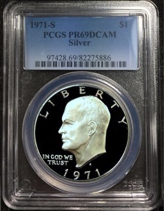 1971 S Pcgs Pr69dcam Deep Cameo Proof Silver Eisenhower Dollar photo