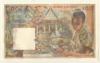 Laos 100 Kip 1957 Aunc/unc Banknote Pick 6 Sign 1 photo