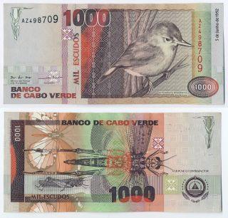 Cape Verde 1000 Escudos 1992 Cabo Verde Unc Banknote Africa P 65 photo