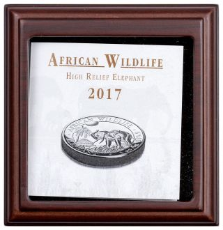 2017 Somalia 1 Oz.  High Relief Silver African Elephant Proof S100 Ogp Sku45729 photo