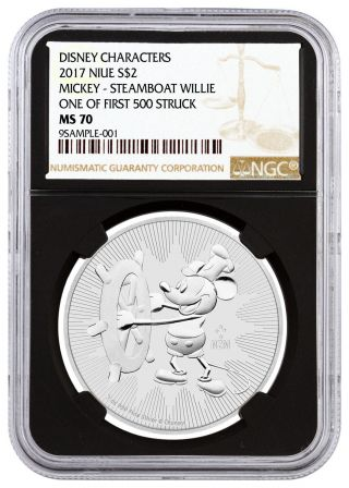 2017 Silver Mickey Mouse Steamboat Willie $2 Ngc Ms70 First 500 Black Sku45495 photo
