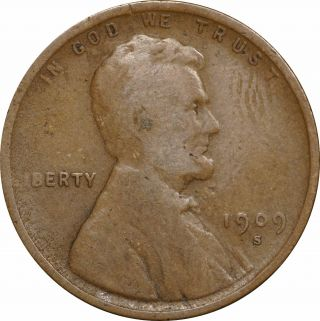 1909 - S Lincoln Wheat Cent 1c - Good G photo