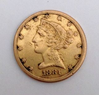 1881 Half Eagle Liberty Head $5 Dollar Gold Coin - photo