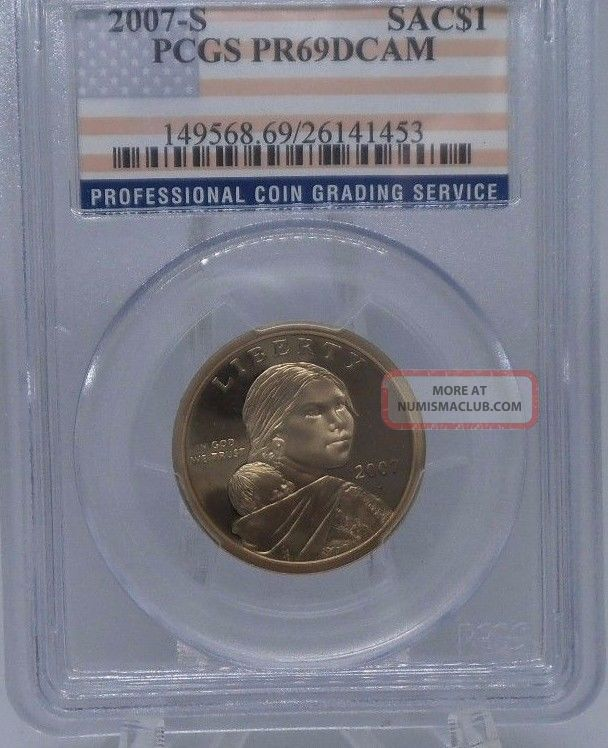 Pcgs 2007 S Proof Sacagawea Native American Dollar $1 Pr69 Pcgs Flag Label Proof Dollars photo