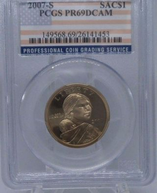 Pcgs 2007 S Proof Sacagawea Native American Dollar $1 Pr69 Pcgs Flag Label Proof photo