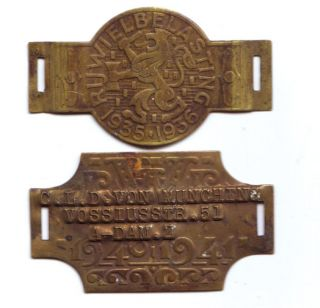 2 German Brass Tags,  1935 - 1936 And 1940 - 1941 photo