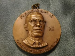 Medallic Art Malcolm X 1925 1965 High Relief Bronze Medal photo