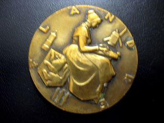 Bronze Art Deco Medal By Marcel Renard - French Line Ship - Flandres / N 105 photo