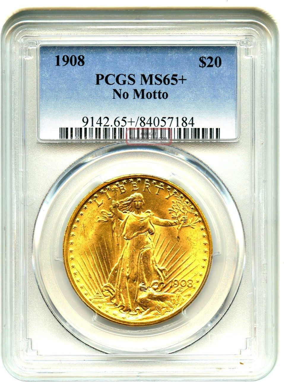 1908 $20 Pcgs Ms65,  (no Motto) Gold Type Coin - Gold Type Coin Gold photo