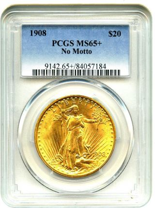 1908 $20 Pcgs Ms65,  (no Motto) Gold Type Coin - Gold Type Coin photo