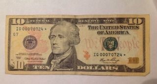 Low Serial Number $10 2006 Star Note.  Ig 00070724 photo