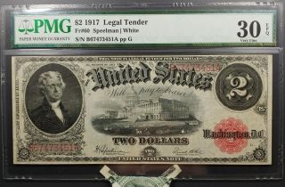 Fr 60 1917 $2 Legal Tender Pmg Very Fine 30 Epq photo