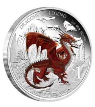 2012 Tuvalu Australian Dragons Of Legend Red Welsh Dragon Proof Silver 1 Oz photo