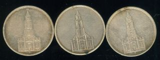 Three Different Date Germany Potsdam Church Silver 5 Mark photo