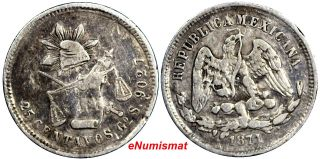 Mexico Silver 1871 Go S 25 Centavos Mintage - 172,  000 Km 406.  5 (9161) photo