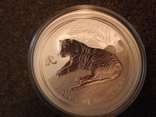 2010 Perth Lunar Tiger 1 Oz.  999 Silver Coin Bu Fresh photo