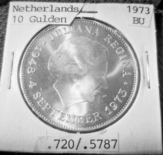 1973 Large Dutch 10 Guilder Ms Proof Like Large Silver Coin Wow photo