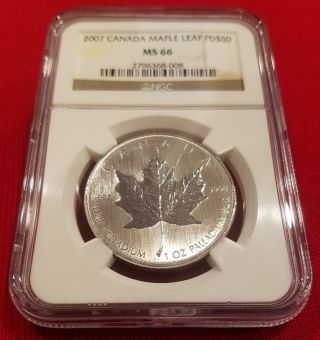 2007 Canada Palladium Maple Leaf Pd$50 Ms 66 Ngc,  No Longer Minted,  Very Rare photo