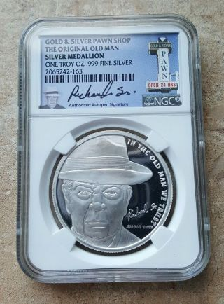 Pawn Stars Ngc Old Man Silver Medallion Round Coin 1 Troy Oz.  999 Fine Silver photo