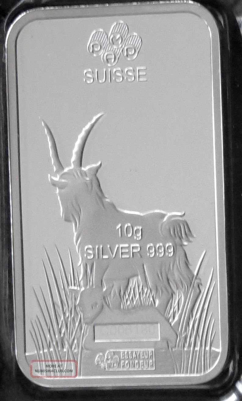 2015 Pamp Suisse 10 Gram Silver Lunar Year Of The Goat Bar