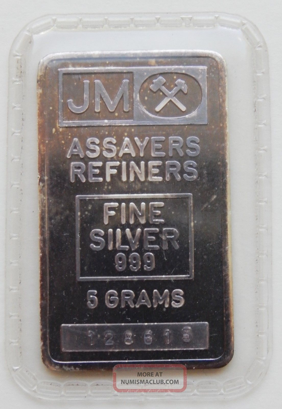 5 Grams Jm Assayers Johnson Matthey 999 Fine Silver Bar Scarce